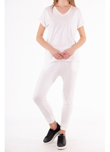 Stamina  Bayan V Yaka Kısa Kıol Geniş Bluz-5VS04 Beyaz